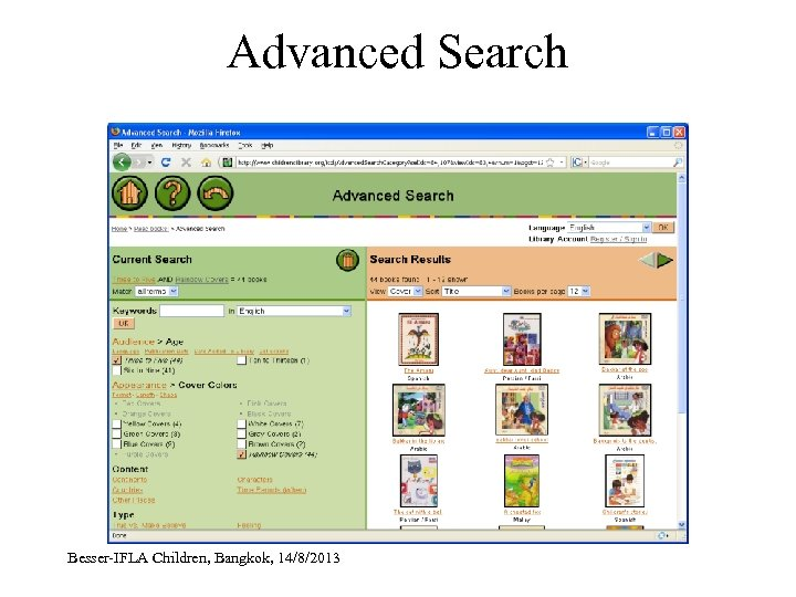 Advanced Search Besser-IFLA Children, Bangkok, 14/8/2013