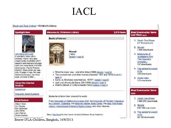 IACL Besser-IFLA Children, Bangkok, 14/8/2013