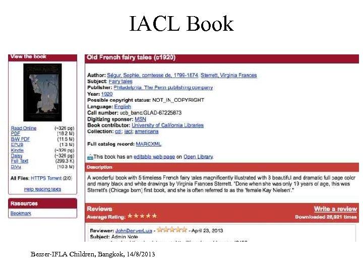 IACL Book Besser-IFLA Children, Bangkok, 14/8/2013