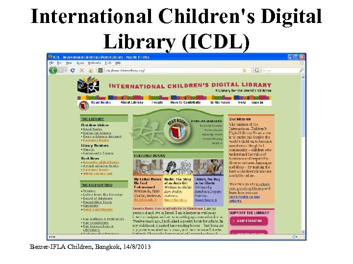 International Children's Digital Library (ICDL) Besser-IFLA Children, Bangkok, 14/8/2013