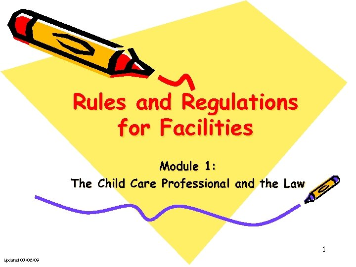 Rules and Regulations for Facilities Module 1: The Child Care Professional and the Law