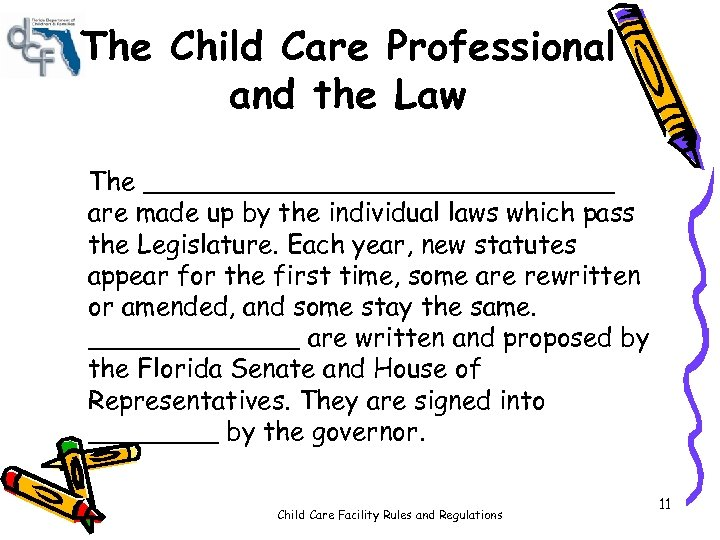 The Child Care Professional and the Law The _______________ are made up by the