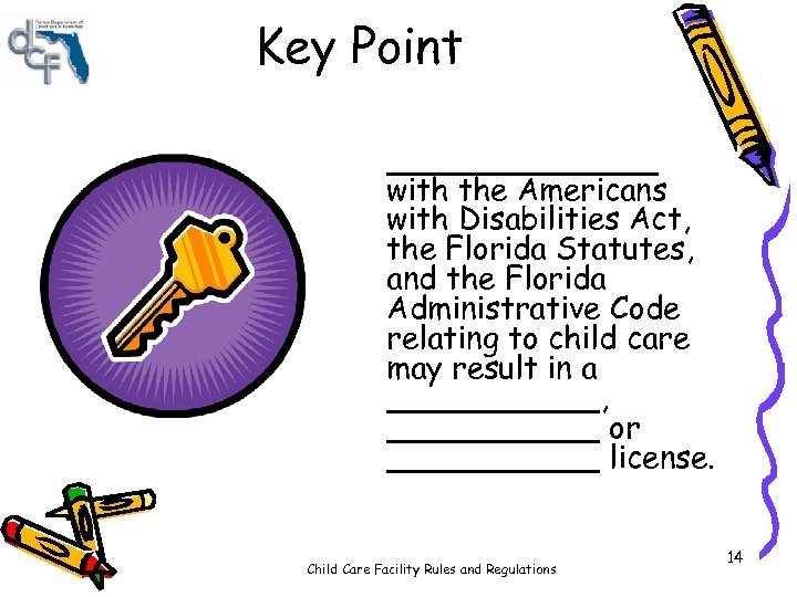 Key Point _______ with the Americans with Disabilities Act, the Florida Statutes, and the