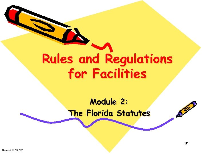 Rules and Regulations for Facilities Module 2: The Florida Statutes 15 Updated 03/02/09