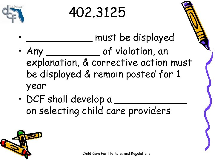 402. 3125 • ______ must be displayed • Any _____ of violation, an explanation,