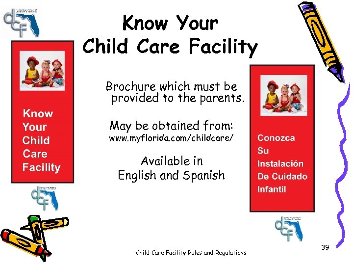 Know Your Child Care Facility Brochure which must be provided to the parents. May