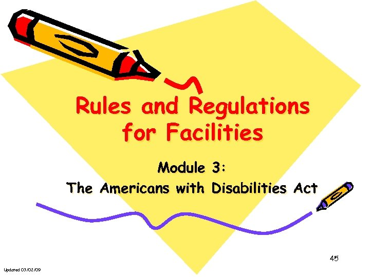 Rules and Regulations for Facilities Module 3: The Americans with Disabilities Act 45 Updated