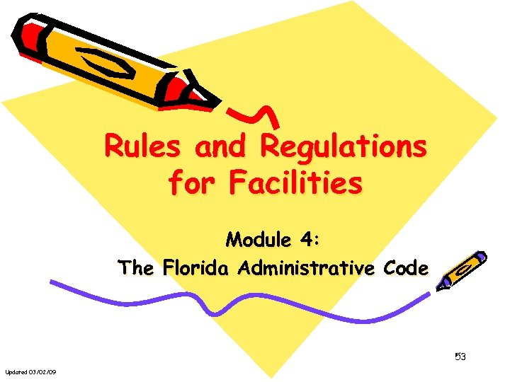 Rules and Regulations for Facilities Module 4: The Florida Administrative Code 53 Updated 03/02/09