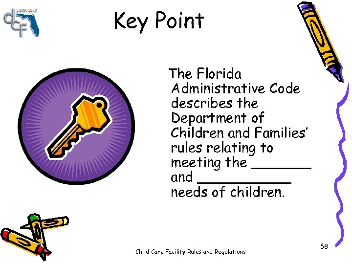 Key Point The Florida Administrative Code describes the Department of Children and Families' rules