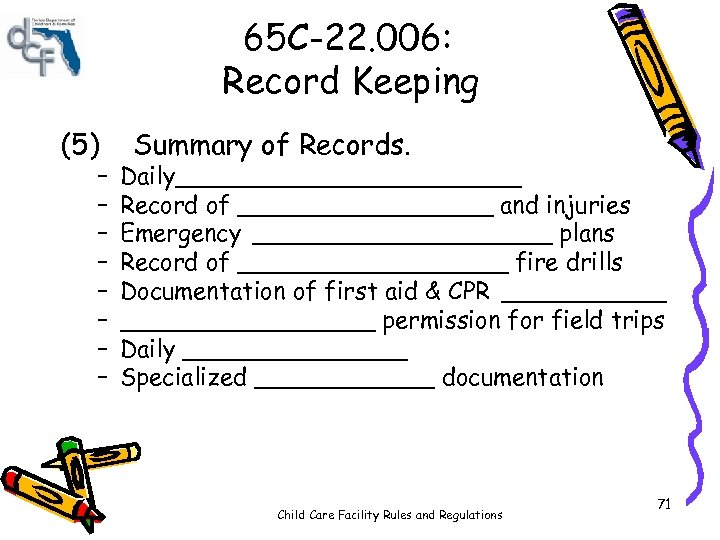 65 C-22. 006: Record Keeping (5) – – – – Summary of Records. Daily____________