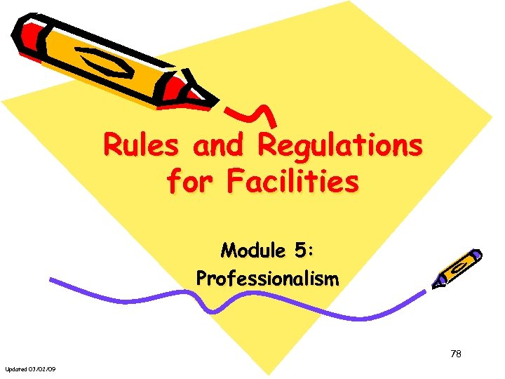 Rules and Regulations for Facilities Module 5: Professionalism 78 Updated 03/02/09