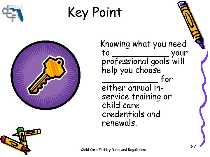 Key Point Knowing what you need to ______ your professional goals will help you