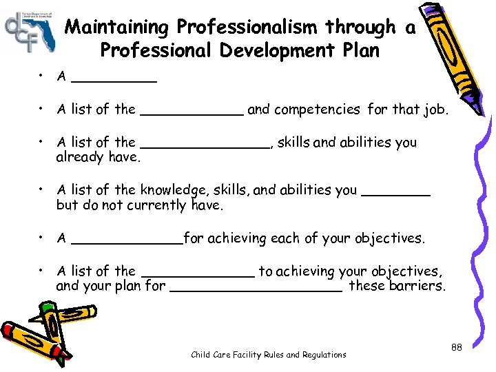 Maintaining Professionalism through a Professional Development Plan • A _____ • A list of