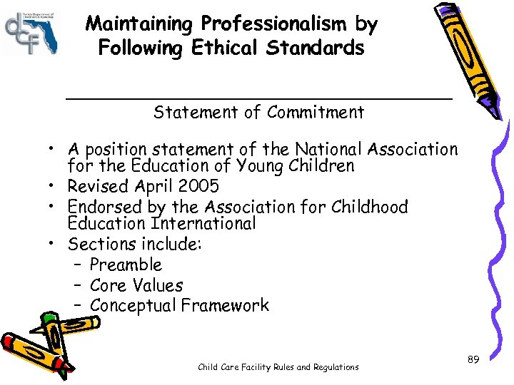 Maintaining Professionalism by Following Ethical Standards __________________ Statement of Commitment • A position statement