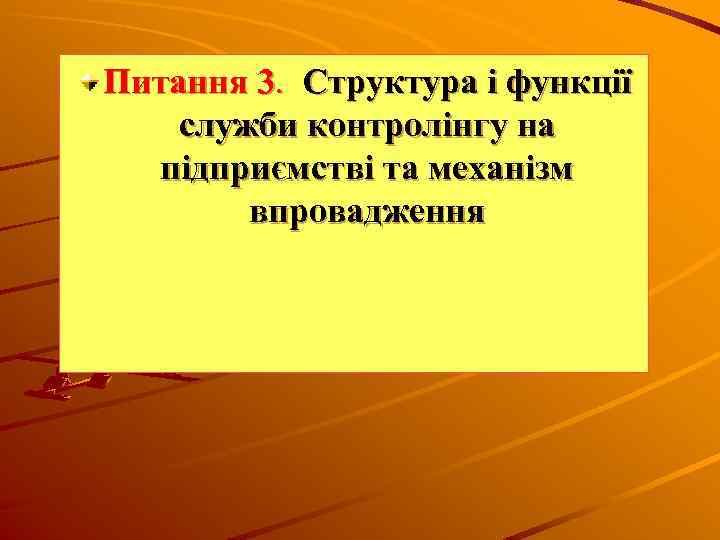 Питання 3. Структура і функції служби контролінгу на підприємстві та механізм впровадження