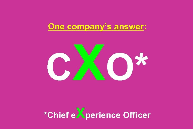 One company's answer: CXO* *Chief e Xperience Officer
