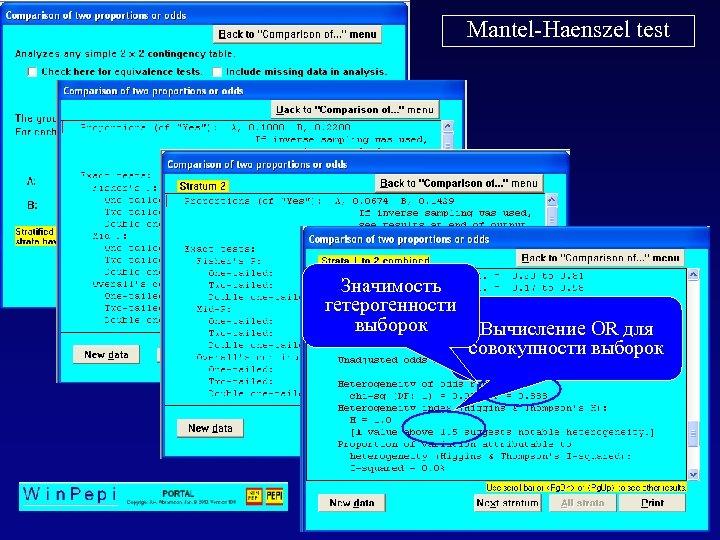 Mantel-Haenszel test Значимость гетерогенности выборок Вычисление OR для совокупности выборок