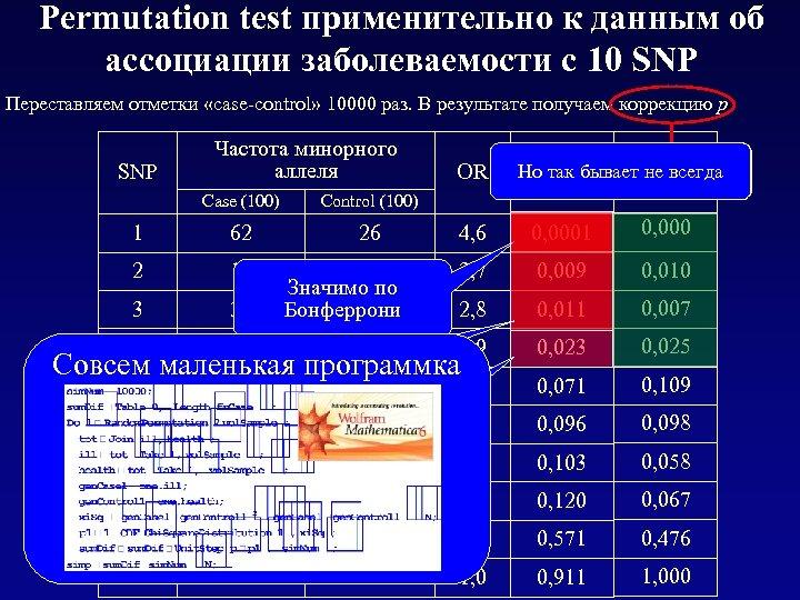 Permutation test применительно к данным об ассоциации заболеваемости с 10 SNP Переставляем отметки «case-control»