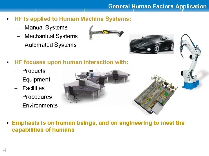 General Human Factors Application • HF is applied to Human Machine Systems: – Manual
