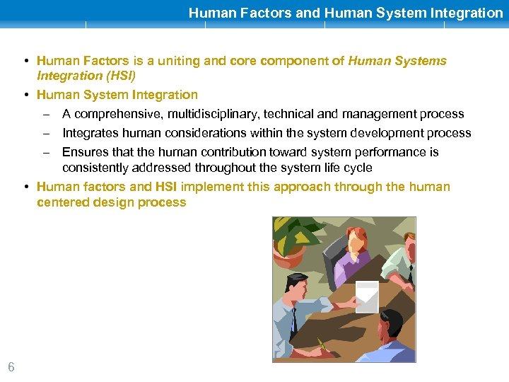 Human Factors and Human System Integration • Human Factors is a uniting and core