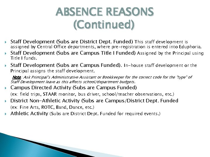 ABSENCE REASONS (Continued) Staff Development (Subs are District Dept. Funded) This staff development is