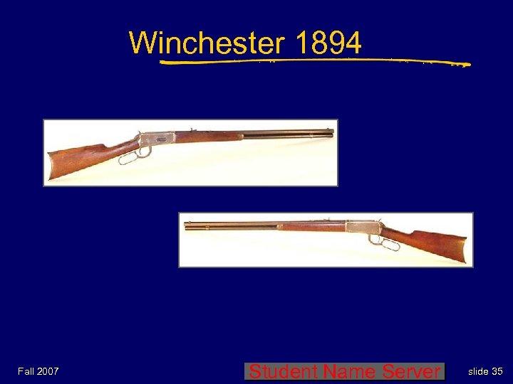 Winchester 1894 Fall 2007 Student Name Server slide 35