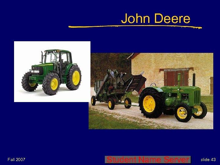John Deere Fall 2007 Student Name Server slide 43