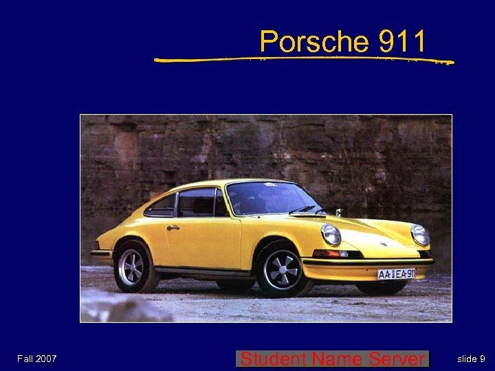 Porsche 911 Fall 2007 Student Name Server slide 9