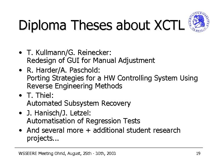 Diploma Theses about XCTL • T. Kullmann/G. Reinecker: Redesign of GUI for Manual Adjustment