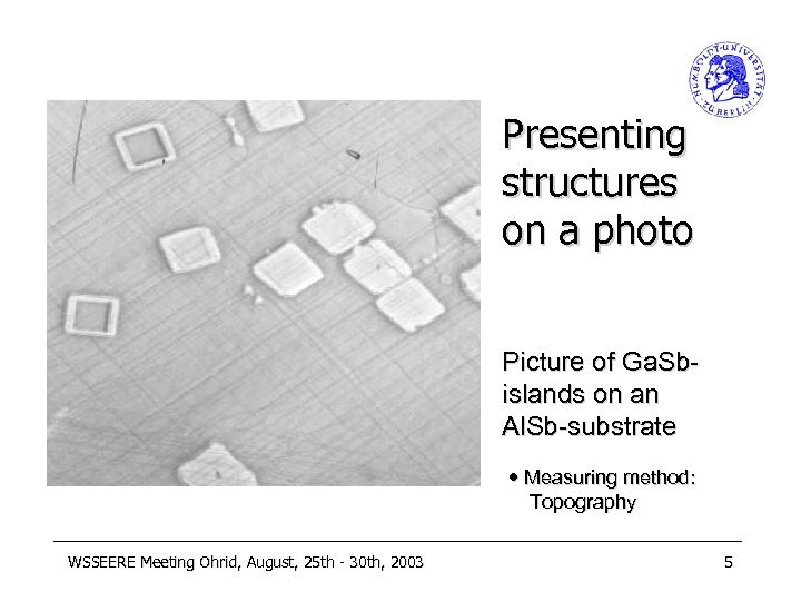 Presenting structures on a photo Picture of Ga. Sbislands on an Al. Sb-substrate Measuring