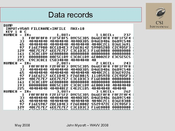 Data records May 2008 John Mycroft – WAVV 2008