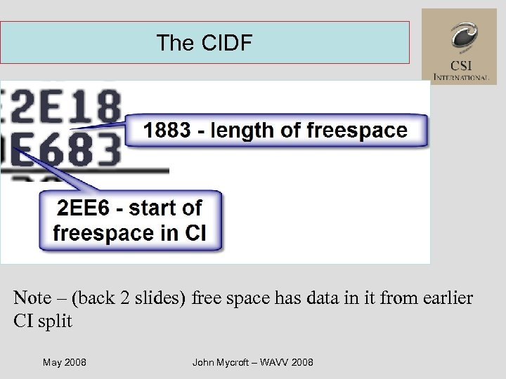 The CIDF Note – (back 2 slides) free space has data in it from