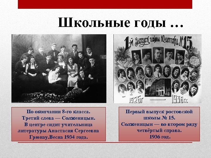 Школьные годы … По окончании 8 -го класса. Третий слева — Солженицын. В центре