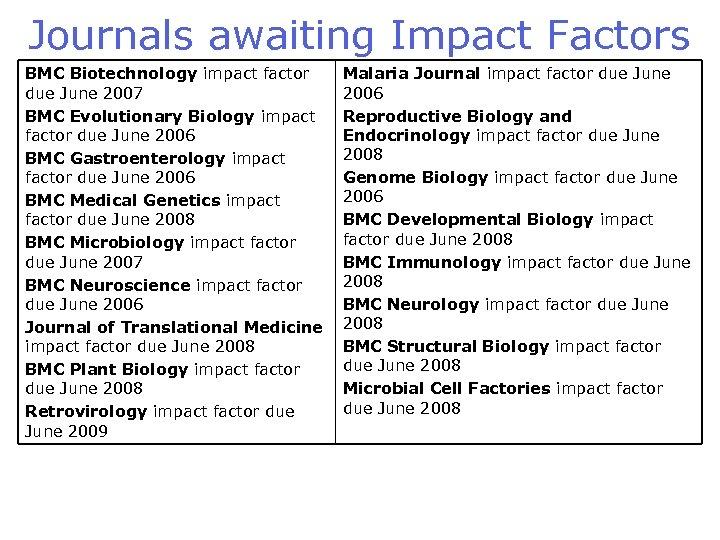 Journals awaiting Impact Factors BMC Biotechnology impact factor due June 2007 BMC Evolutionary Biology