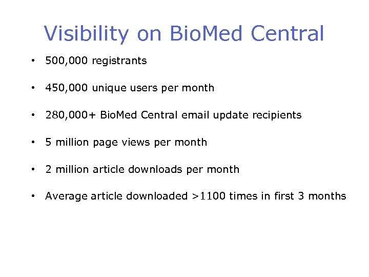 Visibility on Bio. Med Central • 500, 000 registrants • 450, 000 unique users