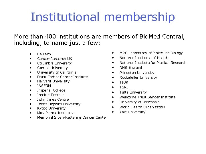 Institutional membership More than 400 institutions are members of Bio. Med Central, including, to