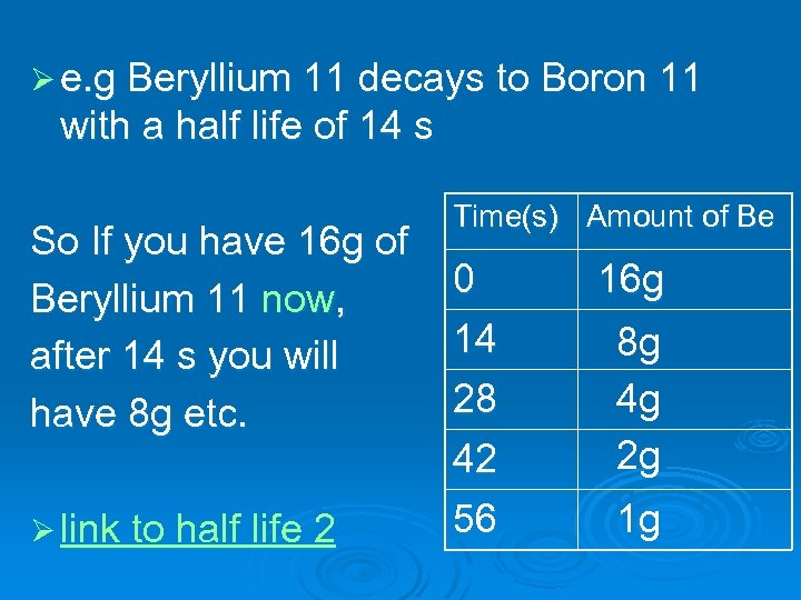 Ø e. g Beryllium 11 decays to Boron 11 with a half life of