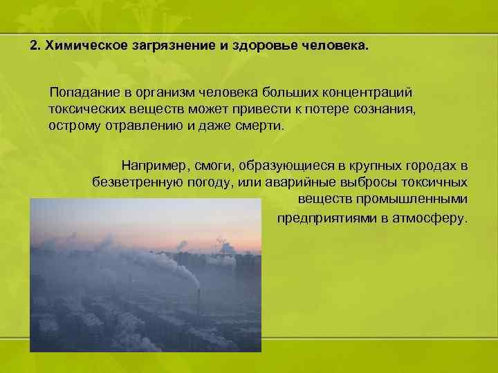 2. Химическое загрязнение и здоровье человека. Попадание в организм человека больших концентраций токсических веществ