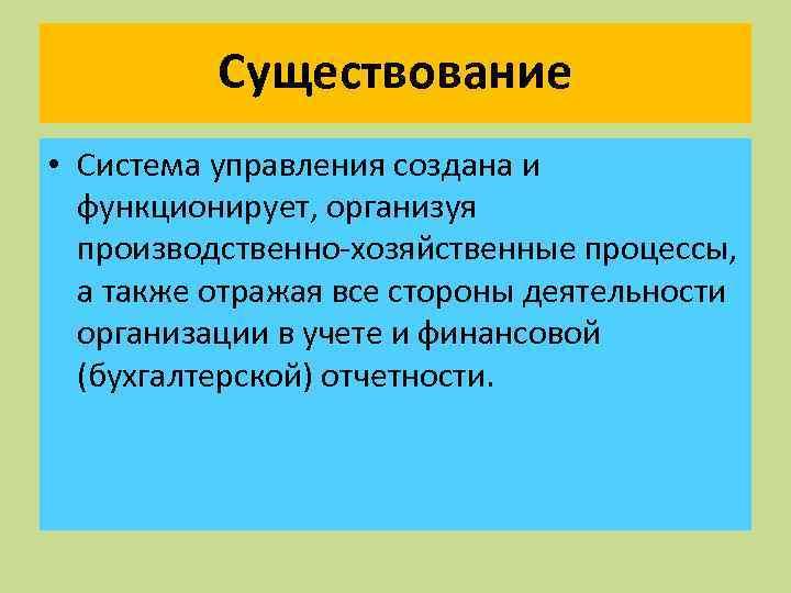 Существование • Система управления создана и функционирует, организуя производственно-хозяйственные процессы, а также отражая все