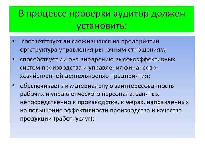 В процессе проверки аудитор должен установить: • соответствует ли сложившаяся на предприятии оргструктура управления