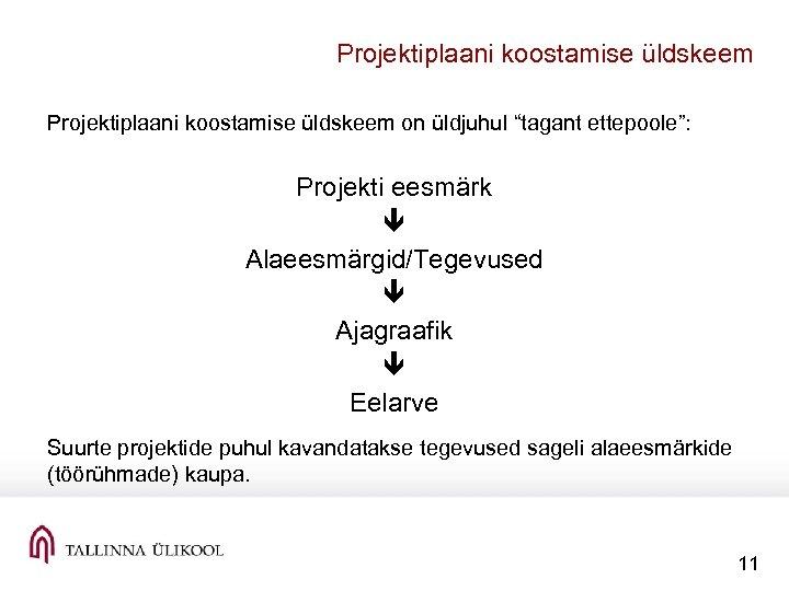 """Projektiplaani koostamise üldskeem on üldjuhul """"tagant ettepoole"""": Projekti eesmärk Alaeesmärgid/Tegevused Ajagraafik Eelarve Suurte projektide"""