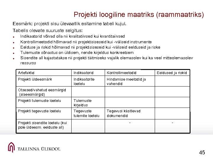 Projekti loogiline maatriks (raammaatriks) Eesmärk: projekti sisu ülevaatlik esitamine tabeli kujul. Tabelis olevate suuruste
