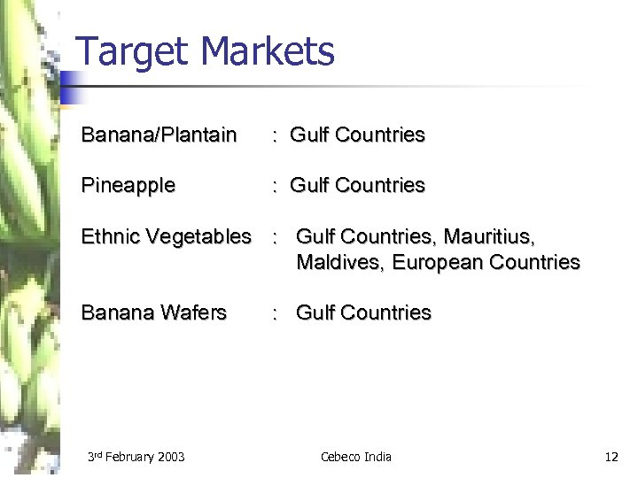 Target Markets Banana/Plantain : Gulf Countries Pineapple : Gulf Countries Ethnic Vegetables : Gulf