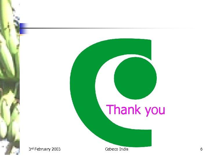 Thank you 3 rd February 2003 Cebeco India 6