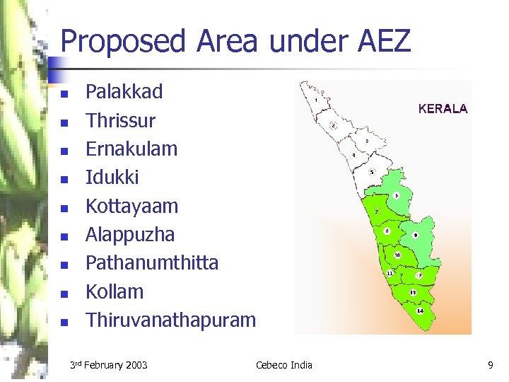 Proposed Area under AEZ n n n n n Palakkad Thrissur Ernakulam Idukki Kottayaam