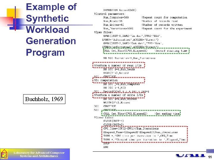 Example of Synthetic Workload Generation Program Buchholz, 1969 11