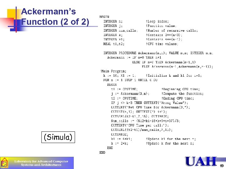 Ackermann's Function (2 of 2) (Simula) 19