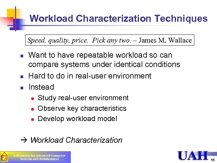 Workload Characterization Techniques Speed, quality, price. Pick any two. – James M. Wallace n