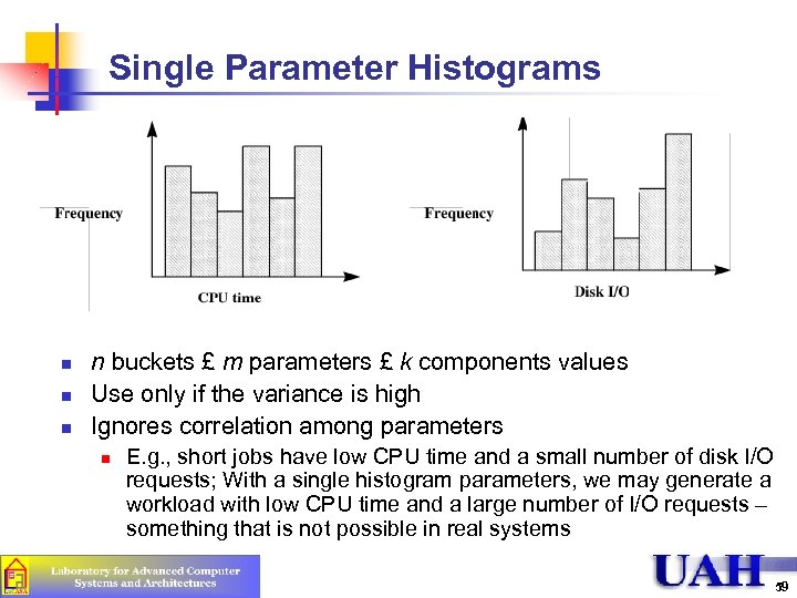 Single Parameter Histograms n n buckets £ m parameters £ k components values Use