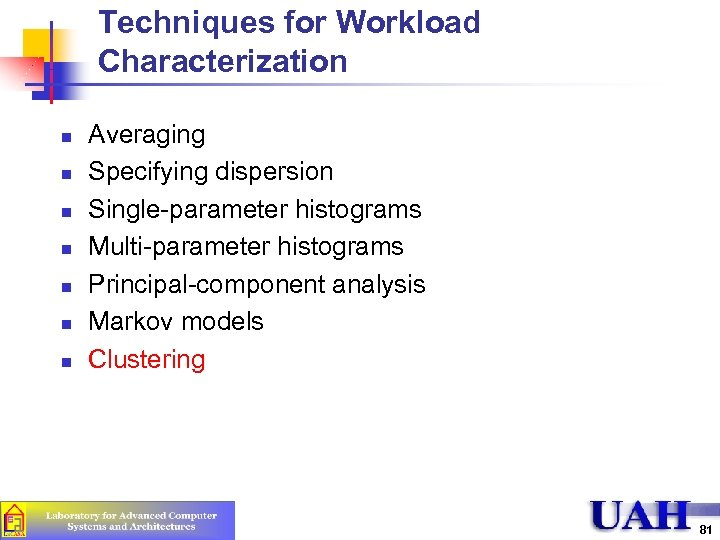 Techniques for Workload Characterization n n n Averaging Specifying dispersion Single-parameter histograms Multi-parameter histograms